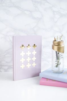DIY Gold Detail Notebooks using contact paper