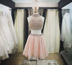 Two Piece Homecoming Dress A-line High Neck Pink Organza Beaded Short Prom Dress APD1615 · DiyDressonline · Online Store Powered by Storenvy