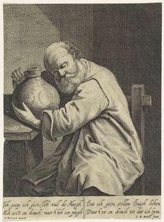 Jean de Weert | Gulzigheid, Jean de Weert, 1636 - 1700 | Een dronken man als personificatie van de gulzigheid zit op een stoel en omarmt een kruik die op tafel staat. Onder de voorstelling bevindt zich een vierregelig, Nederlandstalig gedicht.