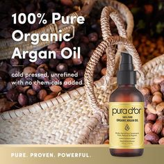 PURA D'OR oz) Organic Moroccan Argan Oil Pure Cold Pressed, USDA Certified Organic Anti-Aging Moisturizer Treatment for Face, Hair, Skin & Nails, Men & Women. Best Hair Growth Oil, Best Hair Oil, Anti Aging Moisturizer, Organic Argan Oil, Organic Coconut Oil, Coconut Oil For Acne, L'oréal Paris, Oils For Skin