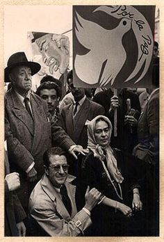 "The last public picture of Frida and Diego together, April, 1954; Frida: ""I drank to drown my sorrows, but the damned things learned how to swim."""