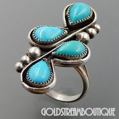 Native American NAVAJO SIGNED MBA STERLING SILVER TEAR DROP TURQUOISE CLUSTER LONG RING SIZE 6.5