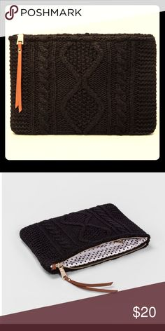 """""""Moda Luxe"""" Black Clutch Whether you only need to carry a few personal items or you're looking for a wallet to accompany your tote bag, this clutch with zip closure is the perfect size to fit your phone, debit cards, a few bobby pins—whatever it is you need. The cable knit exterior makes for a crafted, homemade touch, while the polka dot lining adds a pop of youthful flair.  Dimensions:  (Overall): 7.9 inches (H) x 1.0 inches (W) x 11.8 inches (D) Main Compartment Closure:: Zip Closure Shell…"""