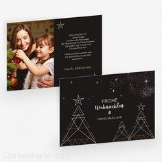 Weihnachtskarte Baumgeometrie 21 x 15 cm - Dankeskarte.com Christmas Cards, Photo Wall, Poster, Decor, Happy New Year, Thanks Card, Geometry, Holiday, Christmas Tree