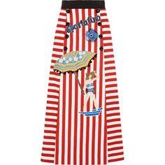 DOLCE & GABBANA Portofino embellished striped cotton-blend maxi skirt