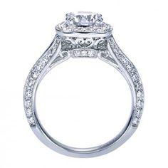 18K White Gold Pave Halo Diamond Engagement Ring @ Wedding Day Diamonds