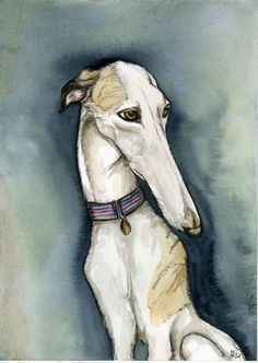 A Little Propriety Whippet Dog Art Print by AlmostAnAngel66, £15.00