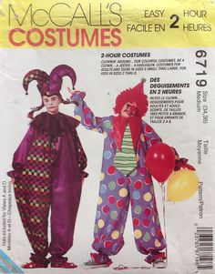 Vintage 1990s adult clown & jester costume pattern / size medium / McCall's 6719 / very loose fitting / neckline variations / hat variations