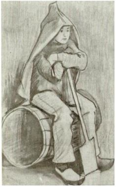 Vincent van Gogh Drawing. Pencil, pen, washed.  The Hague: October - early in month, 1882.  Location of piece still unknown and missing (stolen or looted by the Nazi's)