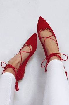 Red lace up flats. These flats are versatile they can be worn dressed up down. Crazy Shoes, Me Too Shoes, Mode Shoes, Lace Up Flats, Strappy Flats, Shoes Sandals, Prom Shoes, Beautiful Shoes, Fashion Shoes