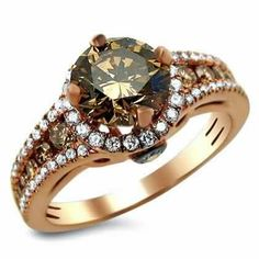 Chocolate Diamond Engagement Ring Round Rings Rose Gold Wedding