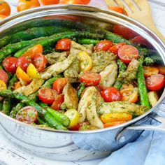 A FLAVOR   nutrient packed meal that only takes 15-20 minutes from start to finish Ingredients: Makes about 3 servings 2 Tbsp avocado oil, or olive oil 1 lb chicken thighs, or tenders, boneless and skinless, sliced into strips 1 lb fresh asparagus, ends trimmed, cut in half 1/4 cup fresh basil...