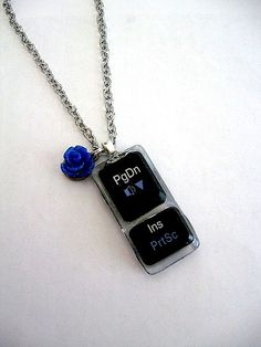 Page Down Key Computer Key Necklace -Geek Turns Chic - Recycled Upcycled Eco Jewelry on Etsy, $26.00