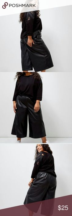 "Faux leather crooked wide leg pants. So trendy! Culottes are back with a bang!!! Elastic waistband. Side seam pockets. Inseam 17.5"". $69.90 tags attached. 6th and Lane design from lane bryant. Lane Bryant Pants"
