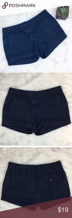 J.Crew Chino Shorts J.Crew Chino blue shorts. Size 2. Approximate measurements are 28' waist, 3' inseam, and 8' rise. GUC with some wear. The pictures make them look more worn than in person. ❌No trades ❌ Modeling ❌No PayPal or off Posh transactions ❤️ I 💕Bundles ❤️Reasonable Offers PLEASE ❤️ Bundle & SAVE❗️❗️ J. Crew Shorts Jean Shorts