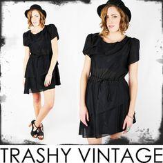 vtg 70s 80s ASYMMETRICAL peplum skirt TIERED RUFFLE puff slv BABYDOLL mini dress $38.00