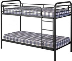 Bradley metal budget bunk bed in black - 13314 modern, contemporary cool children's beds. Pine Bunk Beds, Wooden Bunk Beds, Metal Bunk Beds, Cars Junior, Junior Bed, High Sleeper Bed, Bunk Beds With Storage, Double Twin, Furniture Catalog
