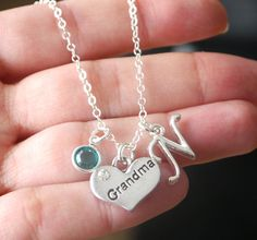 Grandma, Grandma Necklace, Personalized Grandma Necklace, Silver Grandma Necklace, Letter Birthstone, Grandchild, Custom, New Grandma, CLCB