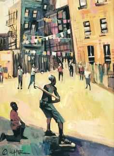 Charly Palmer, Stickball, Acrylic on Canvas - send inquires to info@zucotgallery