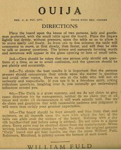 Original ouija board directions