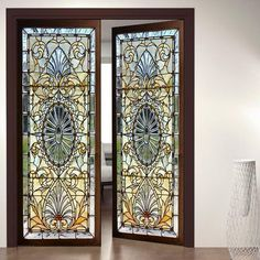 Door Wall Sticker *Stained Glass with Bevels* / Self-Adhesive Vinyl Decal Poster Mural / Self-Adhesive Wallpaper - Door Wall Sticker Stained Glass with Bevels / Self-Adhesive Medieval Stained Glass, Stained Glass Door, Sliding Glass Door, Self Adhesive Wallpaper, Adhesive Vinyl, Wall Wallpaper, Bathroom Wallpaper, Door Stickers, Wall Sticker