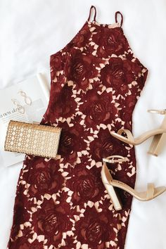 The Temps De L'Amour Burgundy Lace Bodycon Midi Dress will put you in the mood for love! Crochet lace and nude lining shape this bodycon midi dress. Hoco Dresses, Club Dresses, Homecoming Dresses, Sexy Dresses, Graduation Dresses, Bandage Dresses, Ball Dresses, Belted Dress, Bodycon Dress