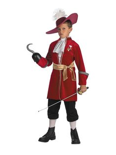 Peter Pan Disney Captain Hook Toddler / Child Costume The pirate who's out to get Peter Pan! An officially licensed ©Disney Peter Pan costume. Outfit includes a Maroon jacket with atta Captain Hook Halloween Costume, Peter Pan Halloween Costumes, Halloween Kids, Pirate Halloween, Captain Costume, Halloween Birthday, Halloween Crafts, Happy Halloween, Birthday Parties