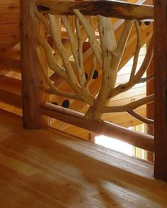 Misty Mountain Furniture Handcrafted log railings and stairways Goebel Project #LogFurniture