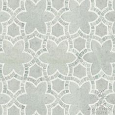 Reina, a natural stone waterjet and hand cut mosaic shown in Ming Green and Thassos polished, is part of the Miraflores Collection by Paul Schatz for New Ravenna Mosaics.  Copyright New Ravenna Mosaics 2012