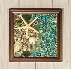 "8""x 8"" Beach Glass Wall and/or Window Art/Seashell Art/Resin Art/Unique Coastal Decor/Beach House Decor/Sun Catcher/Great Gift  Handmade in South Carolina with high quality materials (seashells, beach glass, crushed shells, crushed glass, sand pebbles, finger starfish) and secured with care. The"