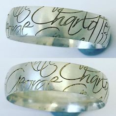 Calligraphy type of laser engraving on wedding ring. Not cleaned or polished #hattongarden #londonengraving #londonengraver #londonengravers #engraving#laserengraving#engravers#jewelleryengraving#jewelleryengravers#hattongardenengrever#hattongardenengravers#london2016 #london