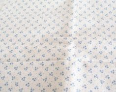 Fabric Fat Quarter Dusty Blue Cream White Tiny Small Floral