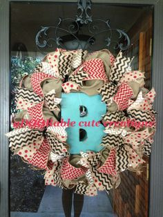 Chevron and polka dot burlap wreath with a pop of turquoise. Red black and white. Created by aDOORable cute creations on Facebook