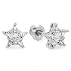 White Gold Jewelry Diamond Star Shape Cer Earrings Kite S Cuts Clarity