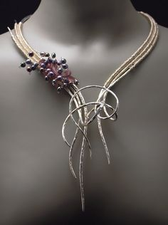 Necklace by Valerie Ostenak. Silver, argentium silver, 14k gold, freshwater pearls and Swarovski crystals