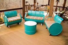 Old barrels. Repurposed barrels. Outdoor furniture. DIY outdoor seating. Rustic chairs.