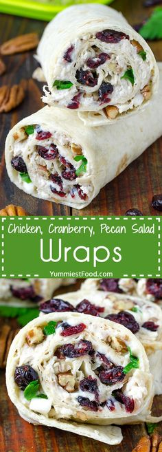 Chicken, Cranberry, Pecan Salad Wraps - a super lunch or wonderful addition! This salad is perfect for any occasion and very easy to make. Chicken, Cranberry, Pecan Salad Wraps - delicious and satisfy (Chicken Dishes For Lunch) Lunch Snacks, Lunch Recipes, New Recipes, Cooking Recipes, Favorite Recipes, Healthy Recipes, Recipies, Easy Recipes, Healthy Chicken Wraps