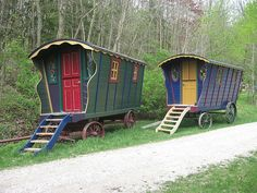 Tunnel Mill, near Rochester, MN. Gypsy wagons set up for cabin style camping.