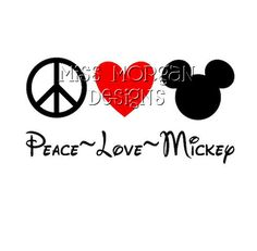 Personalized Peace Love Mickey Disney iron on decal vinyl for shirt. $7.00, via Etsy.