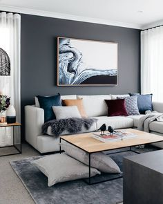 37 brilliant solution small apartment living room decor ideas and remodel 8 Living Room Grey, Home Living Room, Interior Design Living Room, Living Room Designs, Living Room Decor, Feature Wall Living Room, Interior Shop, Interior Livingroom, Interior Ideas