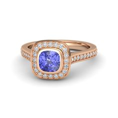 Cushion Tanzanite 14K Rose Gold Ring with Diamond | Annabelle Ring