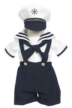 Navy Blue Suspender Shorts Nautical Sailor Outfit with Captain Hat (Baby or Toddler Boys)