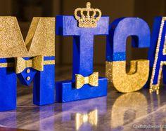 """Letras azules y oro real, Foto Prop, centro de mesa, 8"""" independiente letra, letra personalizada, Baby Shower, príncipe real, 1er cumpleaños"""