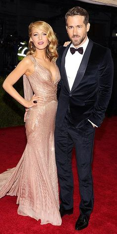 Seriously? Perfection. Blake Lively and Ryan Reynolds in Gucci Premiere. Met Gala 2014