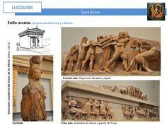ESCULTURA ARQUITECTÓNICA TESORO DE SIFNOS EN DELFOS, Finales del s. VI aC. Figuras policromadas en el frontón, el friso y el pórtico columnado. FRISO: Técnica del relieve SOPORTES Y FRONTONES: bulto redondo. FRONTÓN TRASERO: Apolo y Heracles luchan por el trípode del Oráculo de Delfos y Zeus en el centro de la composición. FRISOS: relatos mitológicos, como la asamblea de los dioses presedida también por Zeus con Ares, Afrodita, Ártemis y Apolo. FRISO NORTE: Gigantomaquía (dioses vs gigantes)…