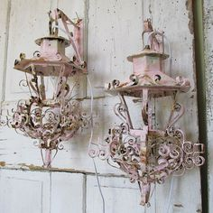 Salvaged electric lantern wall sconces vintage by AnitaSperoDesign