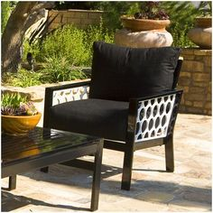 Koverton Parkview Cast Deep Seating Club Chair Cast Panels: Textured Black, Fabric: Canvas Mineral Blue, Finish: Textured Black