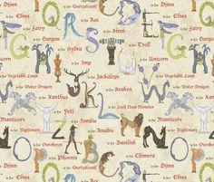 Alphabetical Beastie Compendium fabric by ceanirminger on Spoonflower - custom fabric