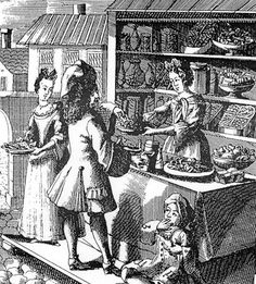 A confectionery booth with a rich display of comfits, sweetmeats, biscuits and jumbals. Note the little boy with his conical bag of sugar plums. An etching by Christoph Weigel (1654-1725) From One Hundred Fools c.1700.