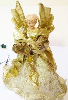 "Vintage Silvestri 12"" Porcelain Victorian Angel 10 Light Christmas Tree Topper $35.00"